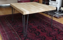 Recycled oak coffee table with hairpin legs