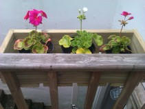 Balcony flower box with reclaimed decking