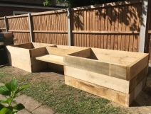 Oak planters with seating