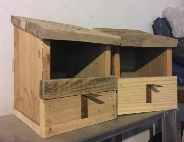 Reclaimed wood robin nest boxes